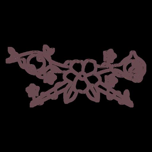 Open scissors and flowers stroke