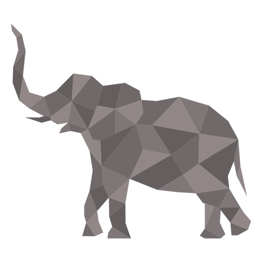 Simple standing color polygonal elephant