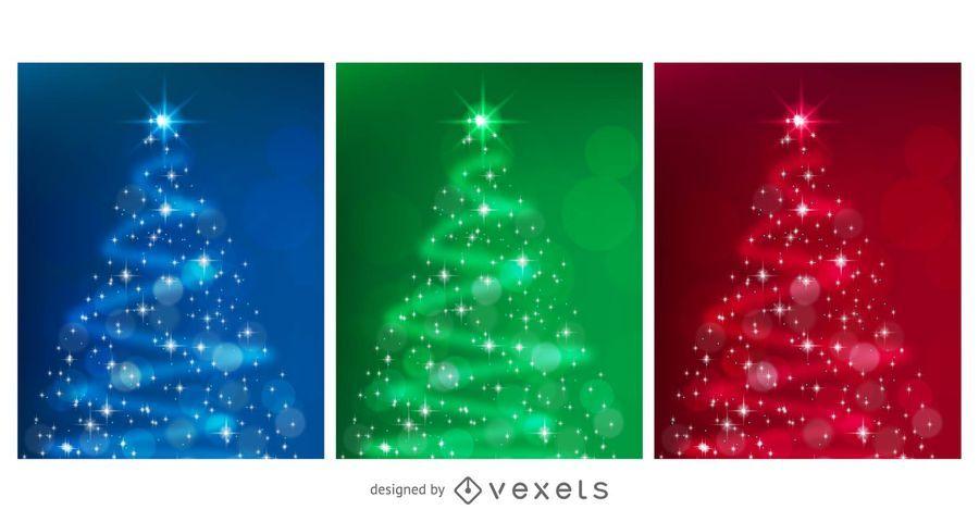 STYLIZED VECTOR CHRISTMAS TREE SET