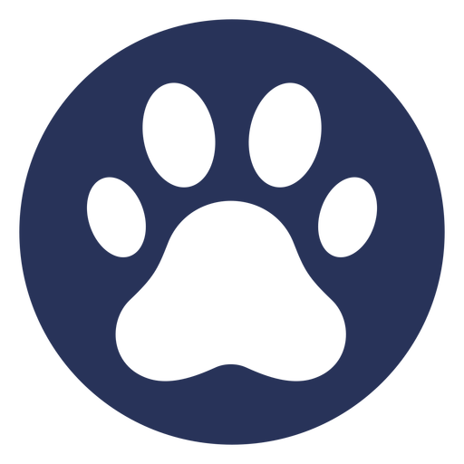 Simple dog paw round badge