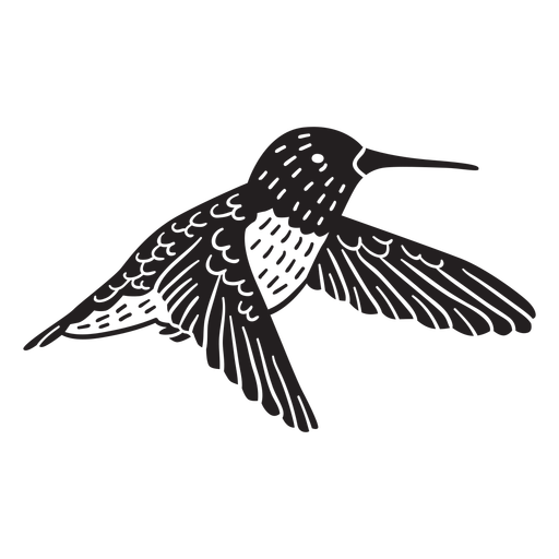 Flying hand drawn hummingbird