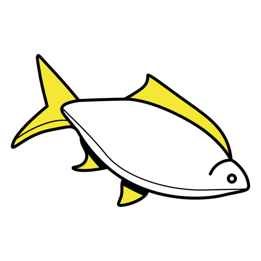 Simple yellow fins fish color stroke