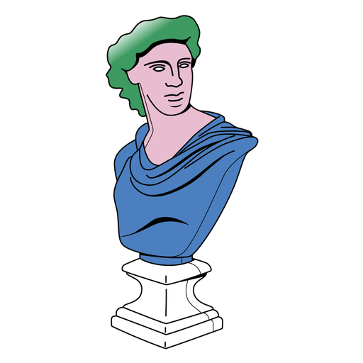 Flat colored stroke bust sculpture