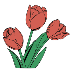 Simple color stroke group of tulips