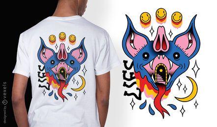 Trippy bat tattoo diseño de camiseta surrealista