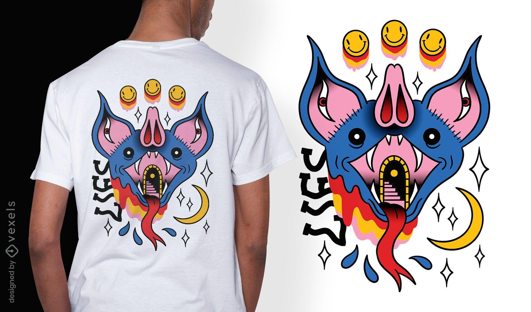 Trippy bat tattoo surreal t-shirt design