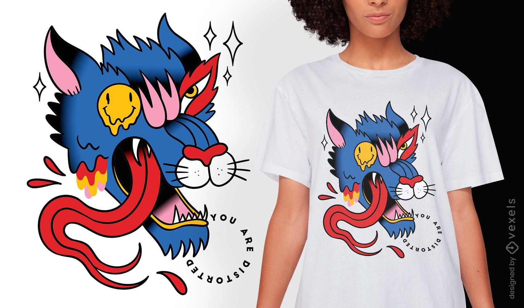 Diseño de camiseta de tatuaje de lobo trippy.
