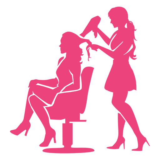 Hairdresser and client silhouette
