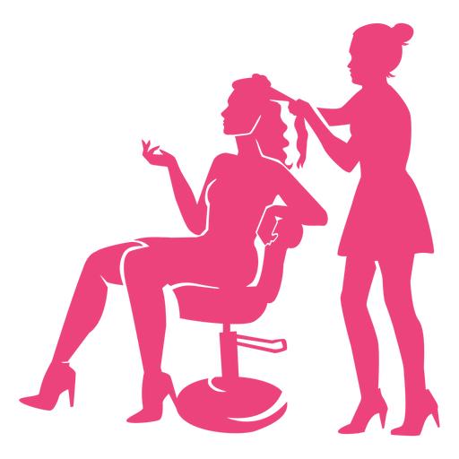 Hairdresser and lady in chair silhouettes