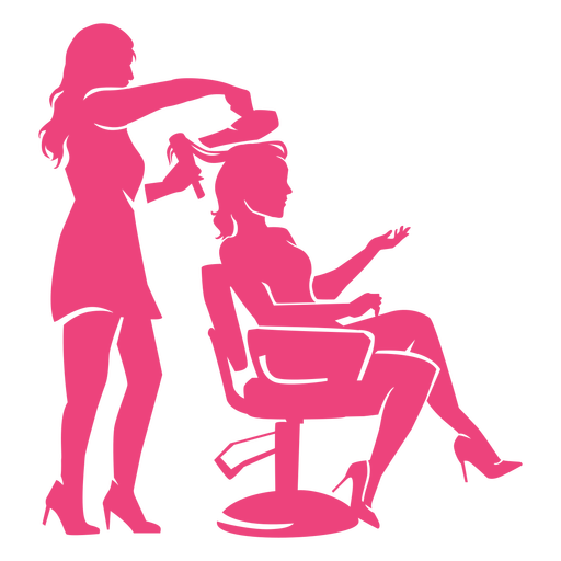Lady and hairdresser silhouettes