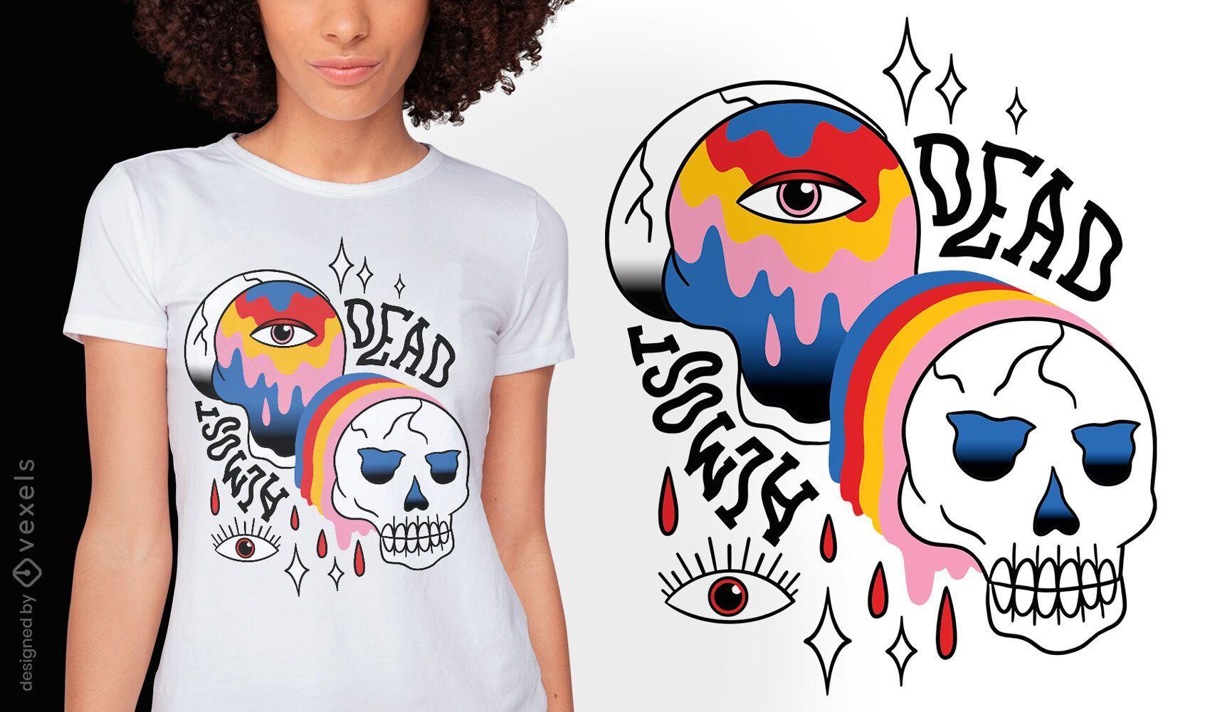 Trippy colorful skull tattoo t-shirt design