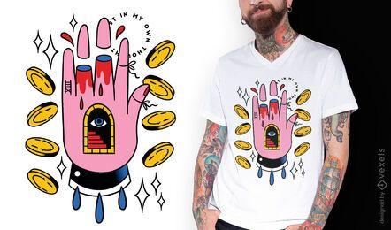 Diseño de camiseta de tatuaje psicodélico de mano.