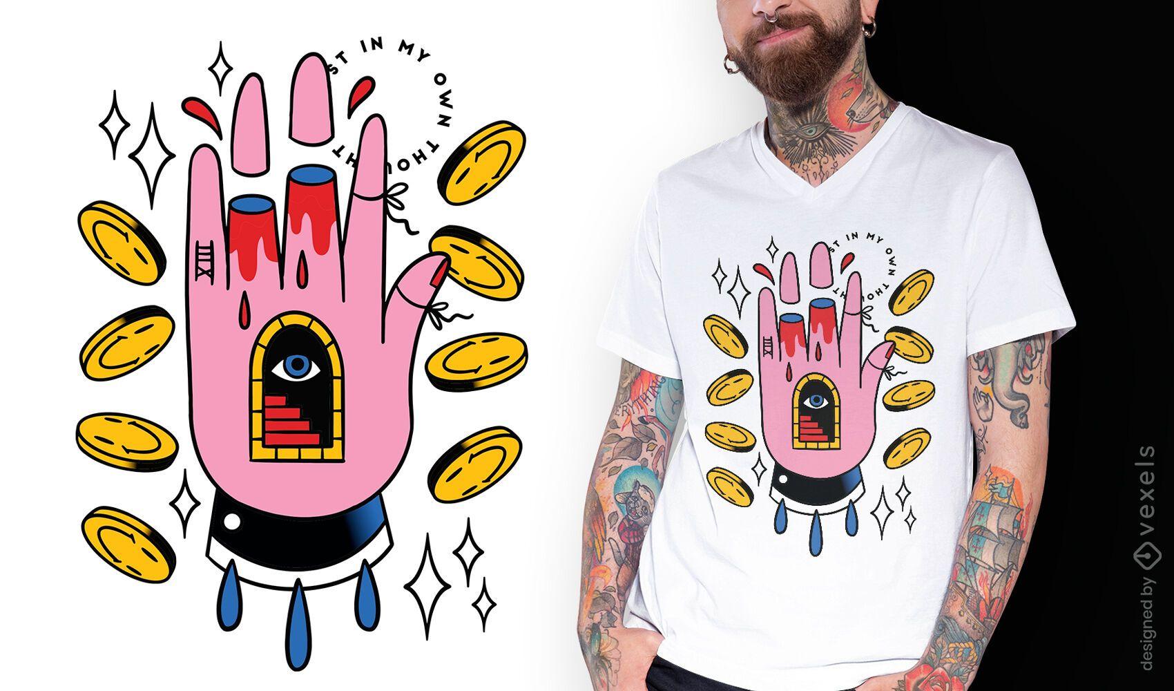 Dise?o de camiseta de tatuaje psicod?lico de mano.