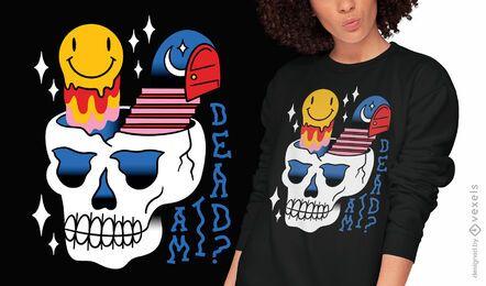 Diseño de camiseta de tatuaje psicodélico de calavera