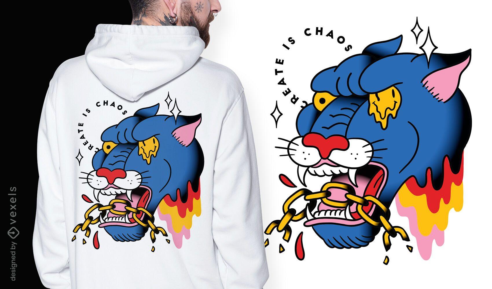 Trippy panther tattoo dise?o de camiseta surrealista