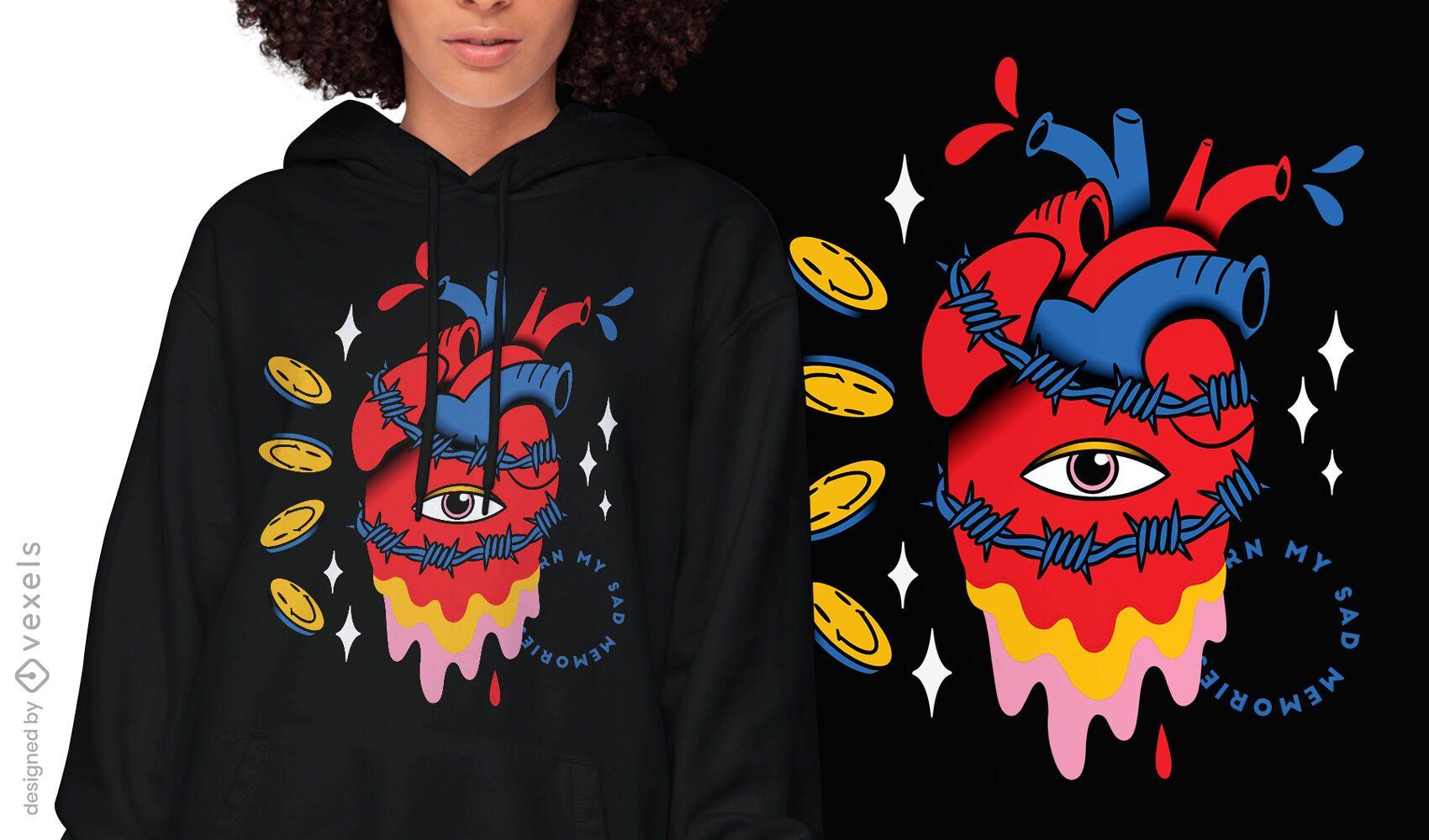 Diseño de camiseta trippy con corazón de alambre de púas.