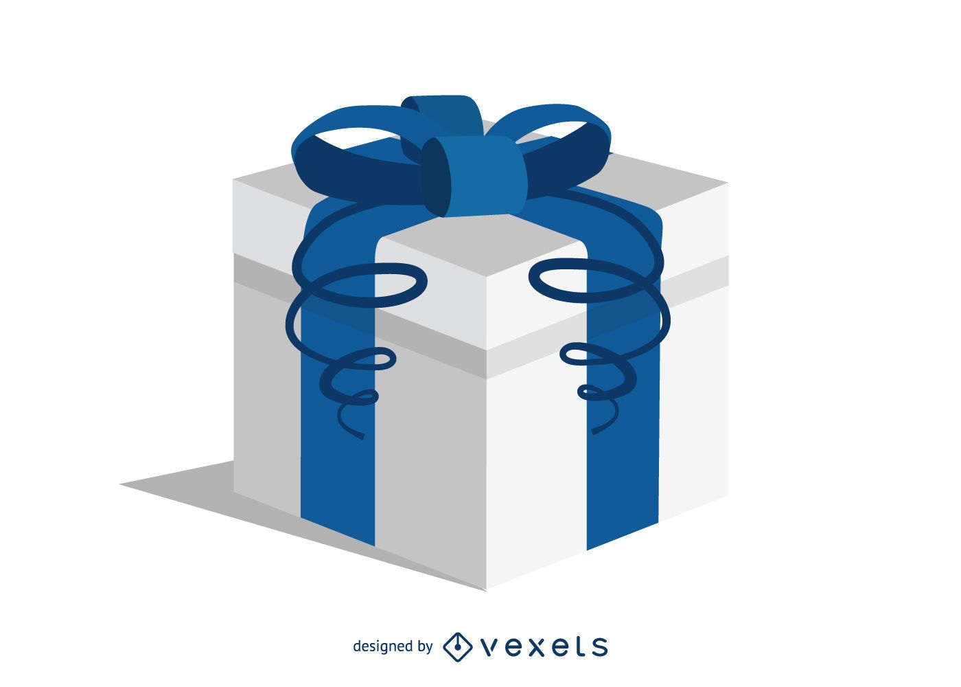 Blue gift and text