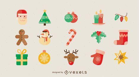 Iconos de vacaciones de navidad