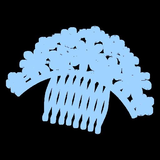 Flowers hair comb brush flat