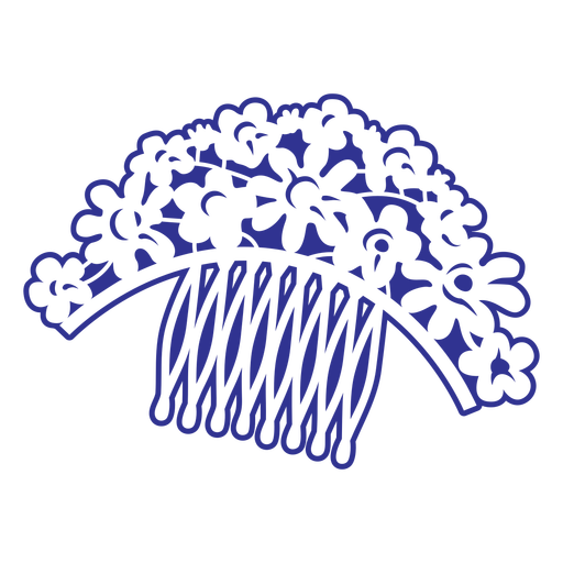 Flowers hair comb filled stroke