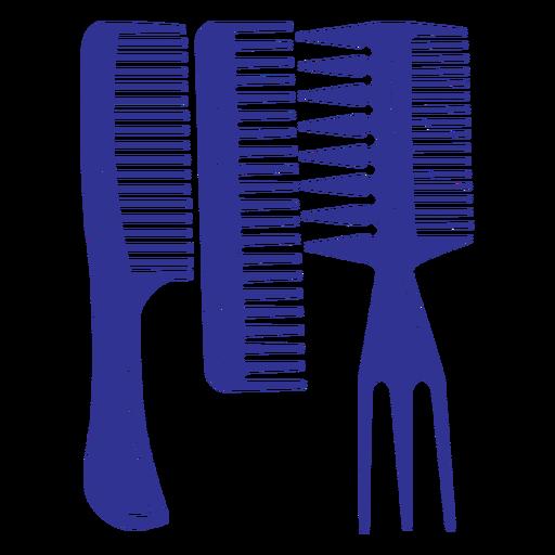 Flat set of three hair brushes