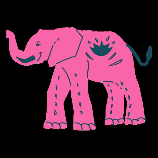 Elefante rosa dibujado a mano