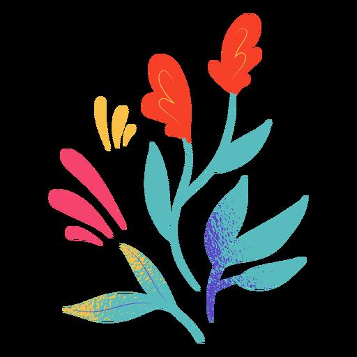 Simple red flowers semi flat