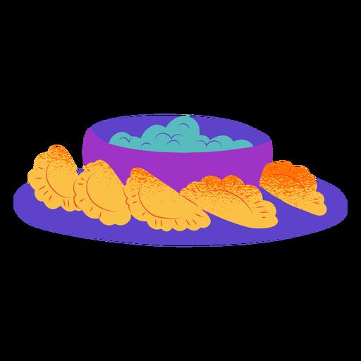 Semi flat plate of gujiyas
