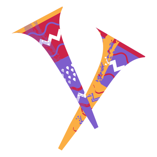 Semi flat colorful traditional trumpets