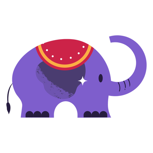 Cute semi flat purple simple elephant
