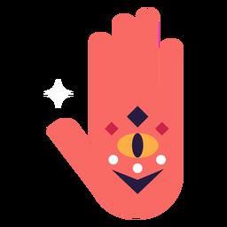 Flat red hand with geometric eye inside