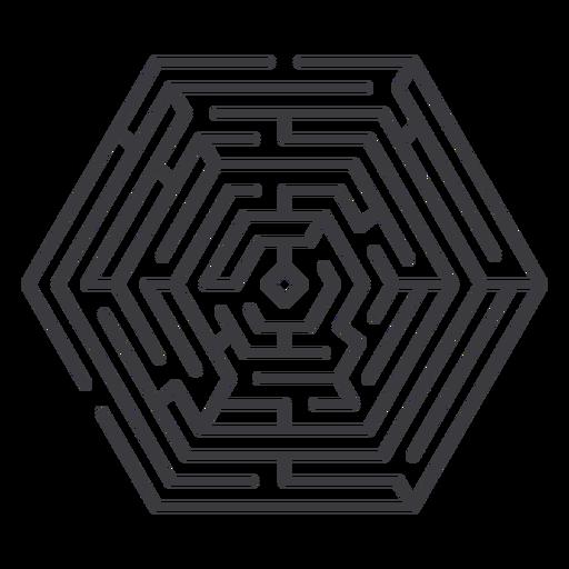Simple stroke hexagon shaped maze