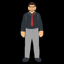 Standing flat young man in black shirt