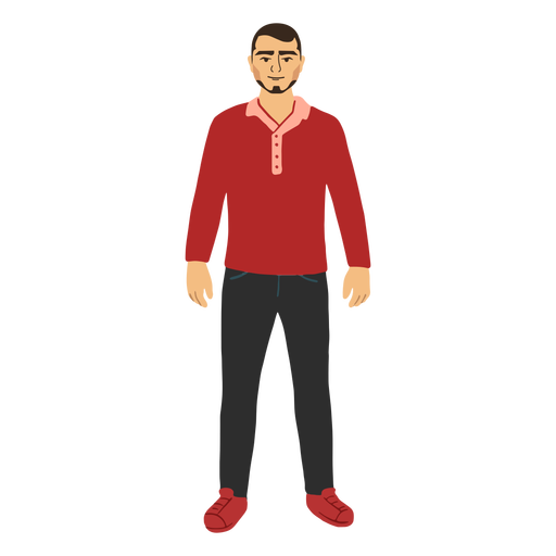 Standing flat young man in red shirt