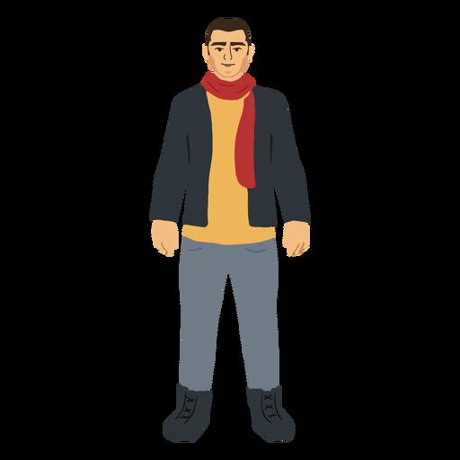 Hombre en personaje de ropa de invierno