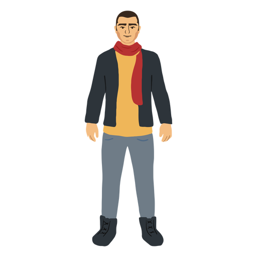 Man in winter clothes character