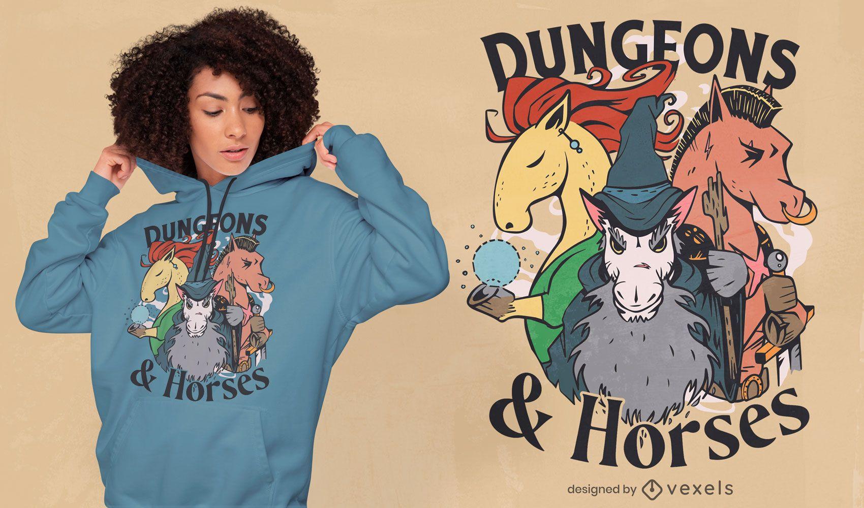 Diseño de camiseta de mazmorras y caballos.