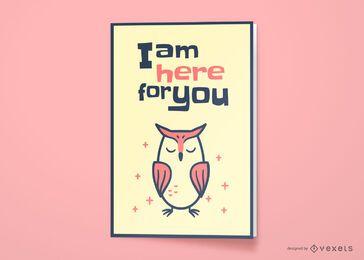 Diseño de tarjeta de felicitación de amistad de búho