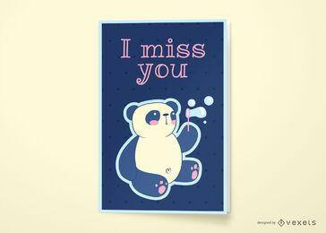 Sinto sua falta design de cartão panda