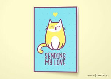 Design de cartão de felicitações de gato amor