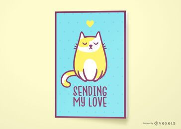 Love cat quote greeting card design