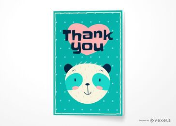 Thank you bear greeting card design