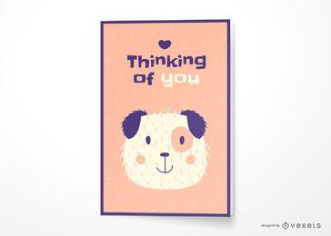 Cachorro pensando em você design de cartão de felicitações