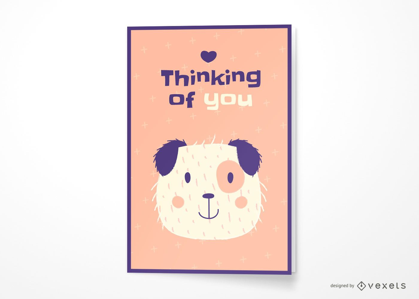 Dog thinking of you greeting card design