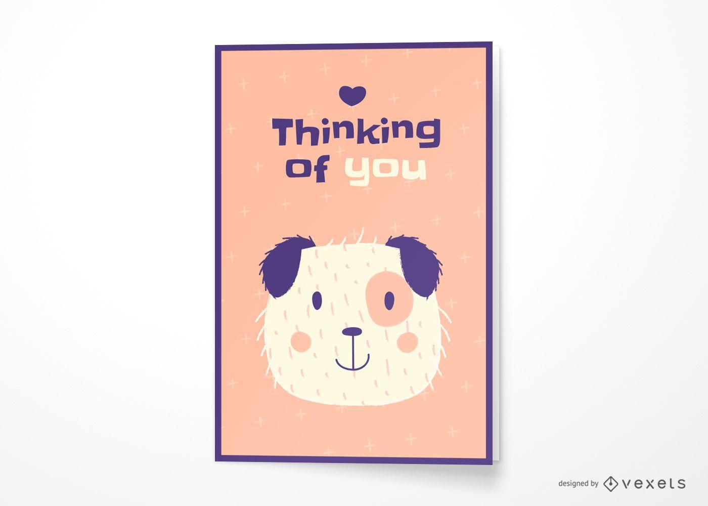 Perro pensando en ti dise?o de tarjeta de felicitaci?n