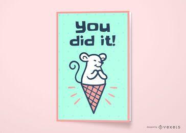 Design de cartão para rato de sorvete