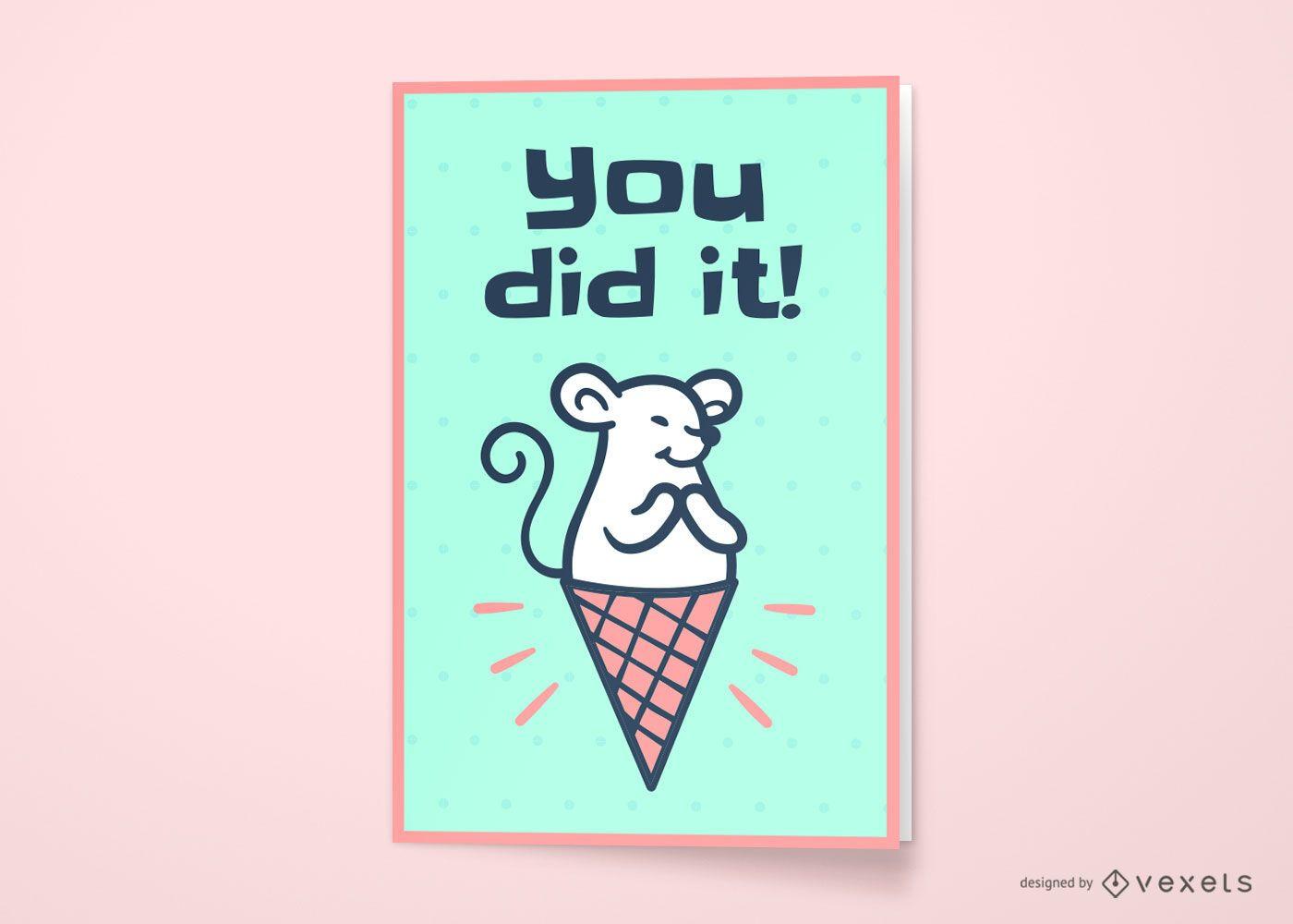 Diseño de tarjeta de felicitación de ratón helado