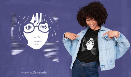 Girl with glasses striped t-shirt design