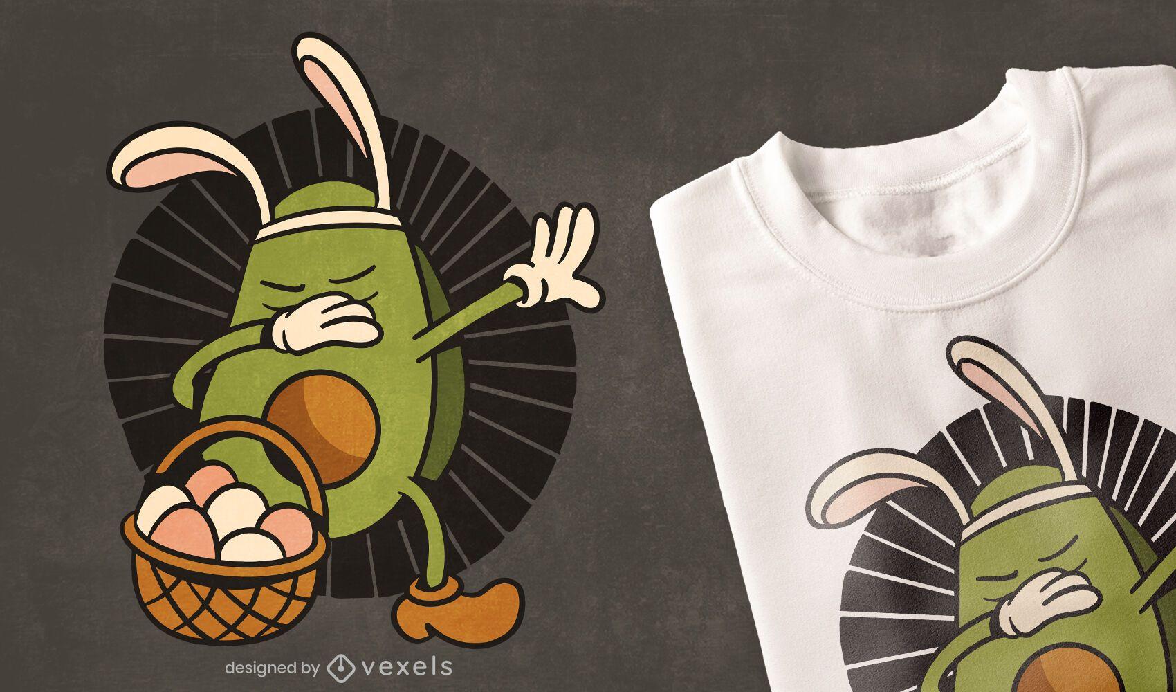 Diseño de camiseta de huevos de pascua de aguacate frotando