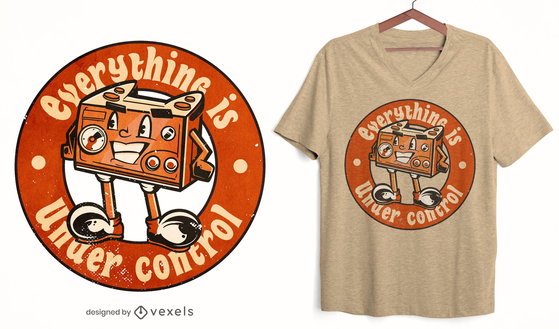 Diseño de camiseta de personaje de joystick para juegos.